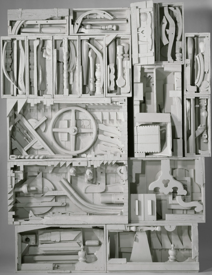 "Louise Nevelson,  Dawn's Wedding Chapel IV , painted wood, 9' 1"" x 7' 3"" x 1' 1.5"", photo: Pace Gallery"