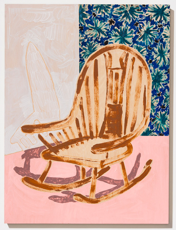"Designated Seat for Daydreaming  2017 Acrylic, gouache, and Flashe on panel 24 x 18"" sold"