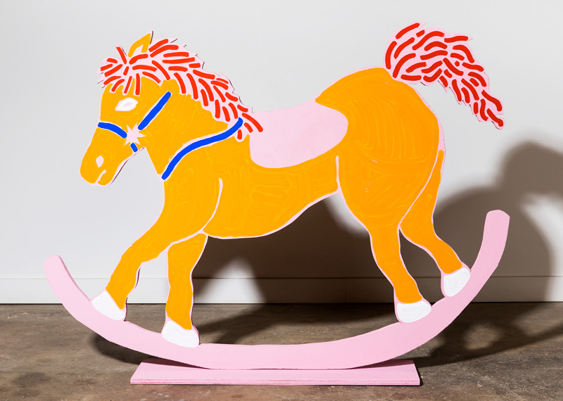 Thank You So Much for the Rocking Horse It Really Means a Lot to Us, 2017, acrylic, gouache, and Flashe on plywood cutout, 36 x 40 x 6""