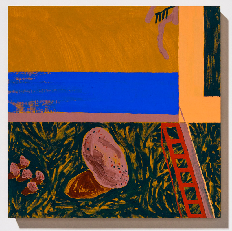 The Brief Moment in the Long Life of a Rock When It Lived in a Garden Belonging to Someone, 2017, acrylic, gouache, and Flashe on panel, 14 x 14""