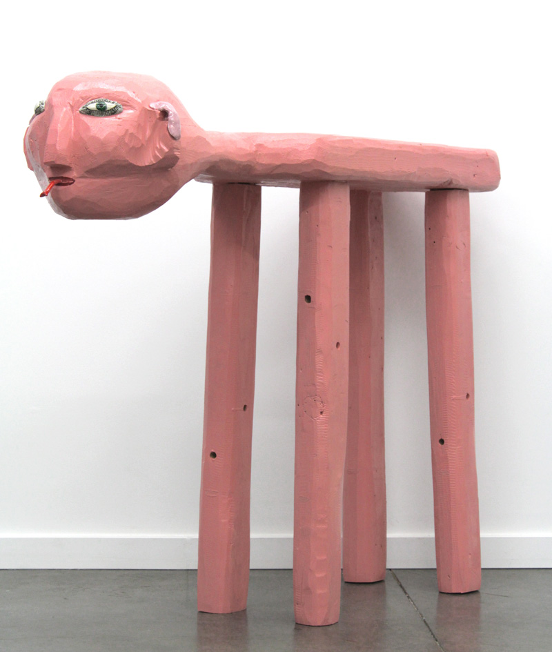 Humanoid Table , 2017, glaze on clay and acrylic on wood, 31.5 x 11.5 x 47""