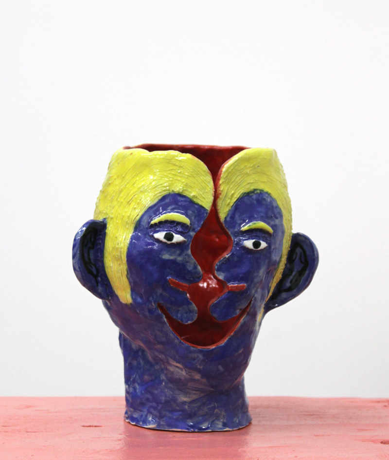 Two Face Vase, 2017, glaze on clay, 7.5 x 6.5 x 5""