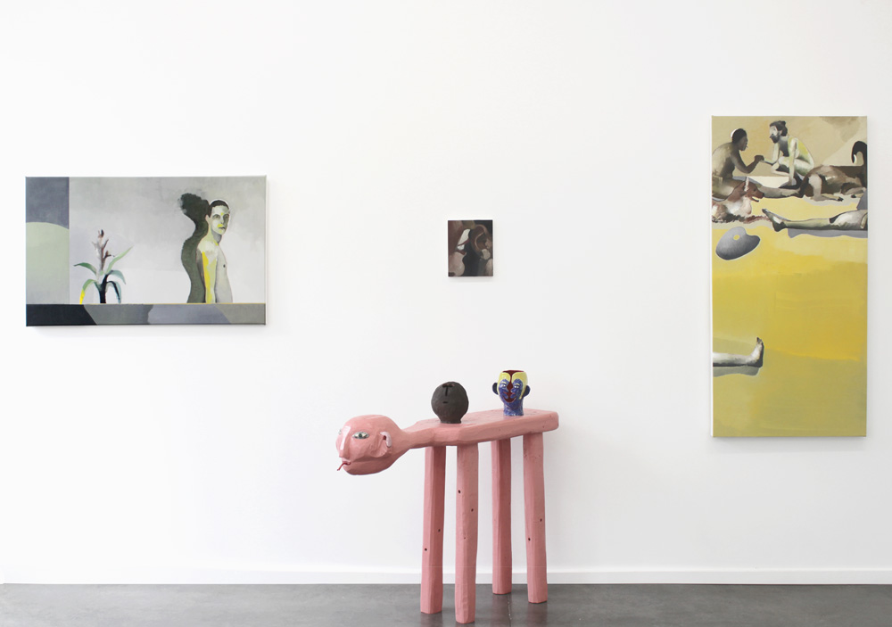 Installation view of  Humanoid Table  in  Animal Laughter.  Paintings by William Matheson.
