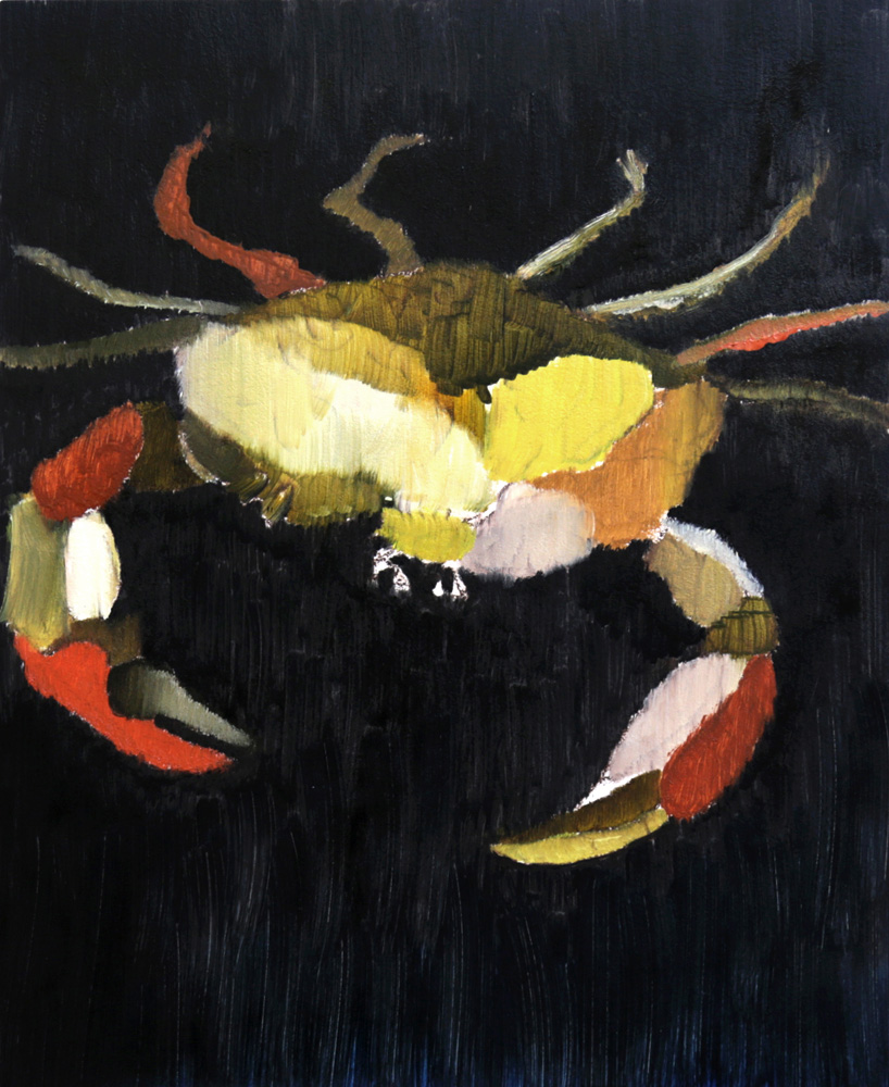 Golden Crab, 2017, oil on panel, 10 x 8""