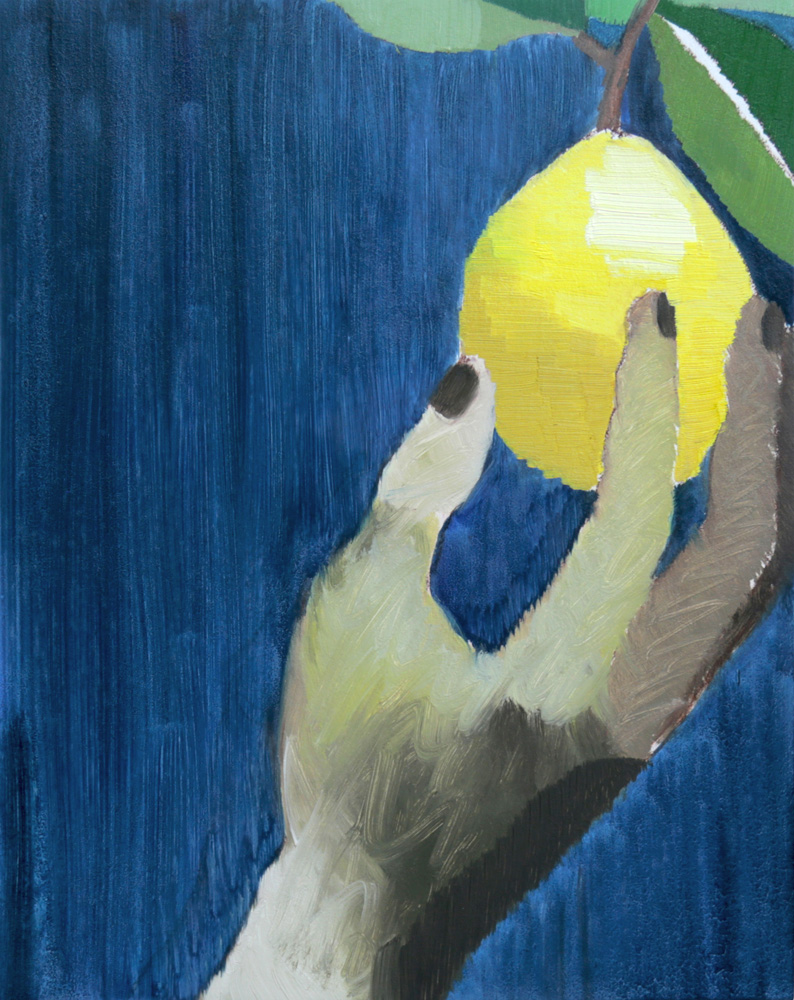 Night Lemon , 2017, oil on panel, 10 x 8""