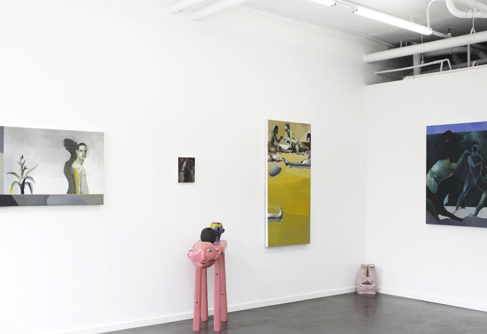 Installation view of  Animal Laughter,  paintings by William Matheson & sculptures by Nick Norman