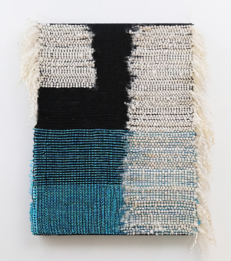 Francesca Capone  Night Fog (As the object grows, it curves around the forms of its surrounding shapes)  2018, Lostine long wool, poly netting line, and cotton on oak board, 24 x 22 inches