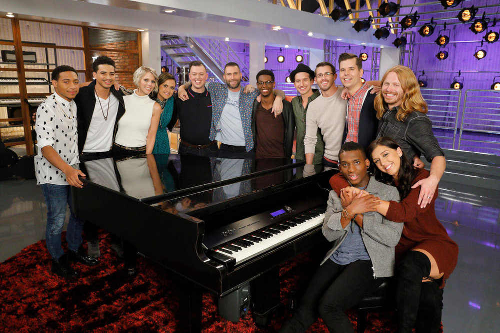 TEAM ADAM - Season 13   (l-r) Brandon Brown, Anthony Alexander, Emily Luther, Whitney Fenimore,  Gary Carpentier , Adam Levine, Brandon Showell, Michael Kight, Dylan Gerard, Dave Crosby, Jon Mero, Adam Pearce, Hannah Mrozak — (Photo by: Trae Patton/NBC)