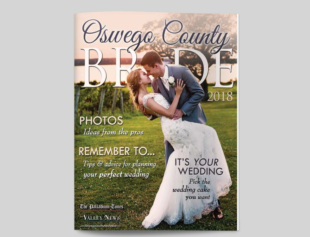 Today is an amazing day because in Oswego County, thousands of people saw my photo on the cover of the most recent edition of Oswego County Bride!!!! So thankful for my amazing friends at the Palladium-Times to think of me. Not only did they use my wedding photography for the front cover, they also used it for the centerfold. My interview with the editor can also be seen in an article inside the magazine.   CLICK HERE   to view the PDF version!!!