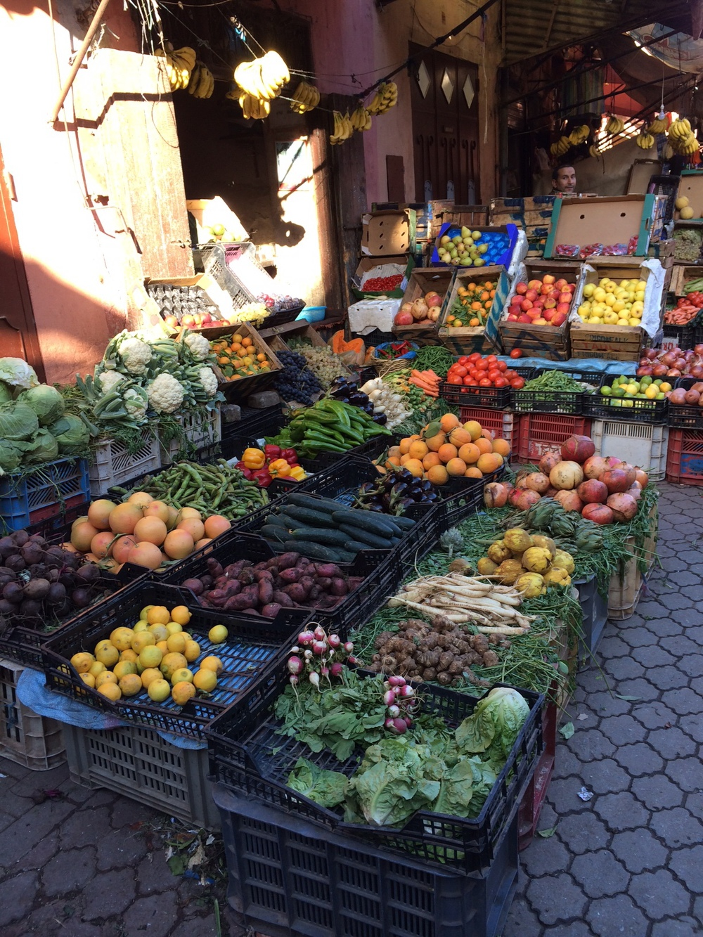Colourful produce stands line the streets