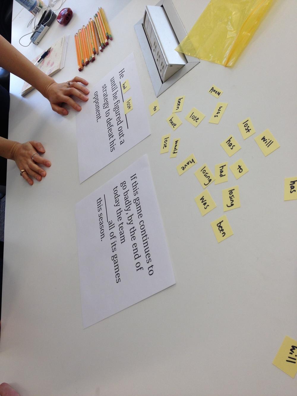 Advanced ESL verb conjugation game