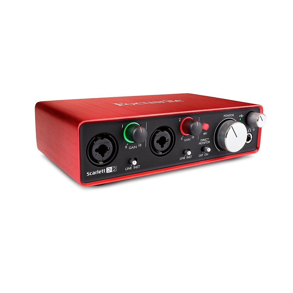 Focusrite Scarlett 2i2 USB Audio Interface - This will most likely be the only interface you'll ever need for your studio.  It's never let me down and you literally plug it in and start recording.