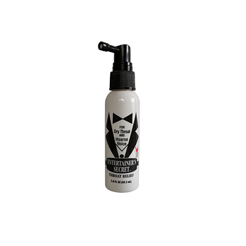 Entertainer's Secret - Throat Relief Spray  - This spray is a lifesaver for long recording sessions (especially video game and animated series).  Spray some in the back of your throat and you're smooth as silk.  It saves your tired vocal folds and coats them for relief.