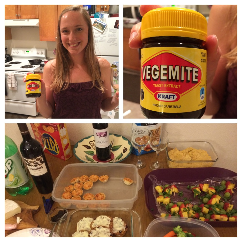My friend Liz (one of the SRC girls) with the vegemite