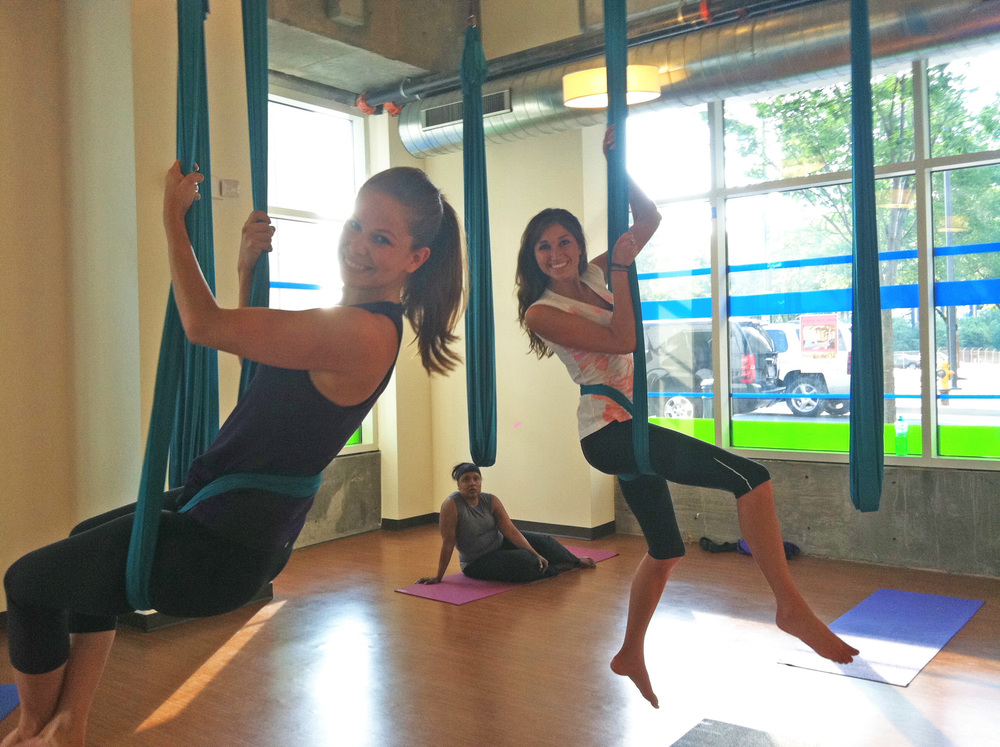 This is aerial yoga!