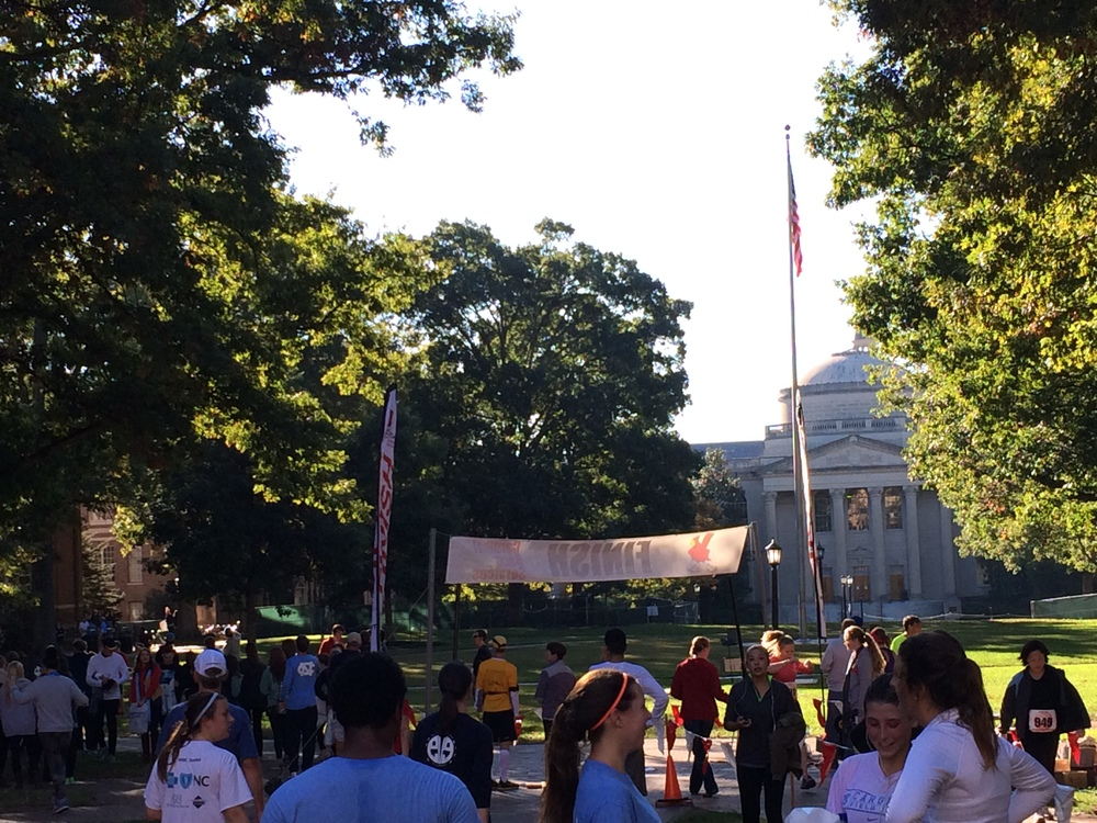 The finish line in the Main Quad
