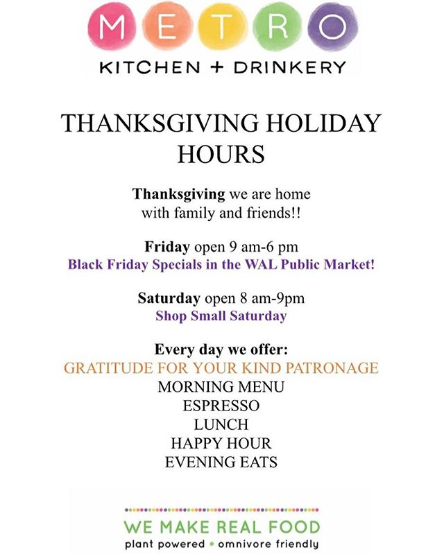 Thanksgiving week schedule! #thanksgiving #visitsacramento #metrokitchenanddrinkery