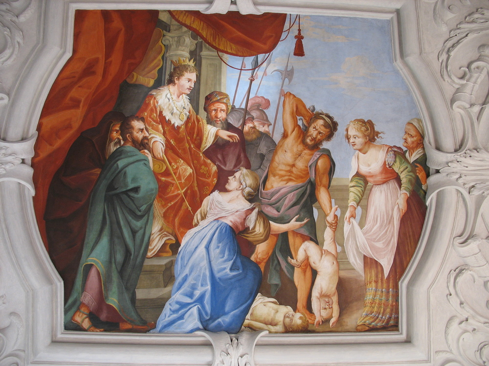 FRESCO del Juicio de salomon (WALLFAHRTSKIRCHE FRAUENBERG, FRAUENBERG VIA WIKIPEDIA)