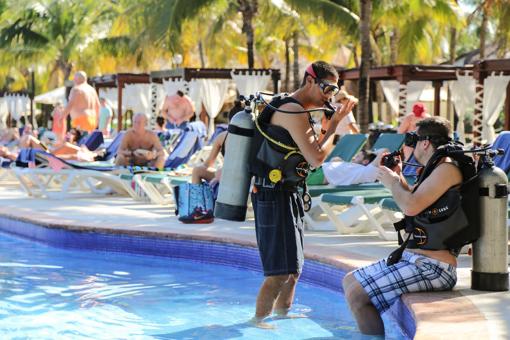 Refreshing his scuba diving skills