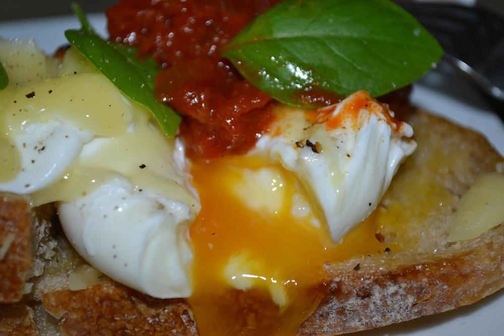 Poached Eggs served with home-made tomato chilli chutney