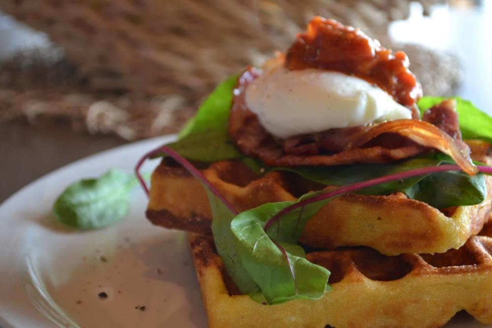Corn and Crispy Bacon Waffles