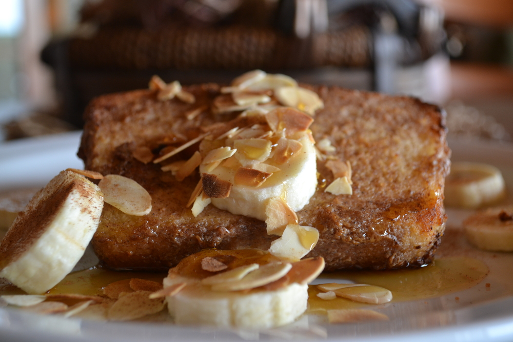 Coconut and Banana French Toast (vegan) made with Gluten Free Home Made Bread