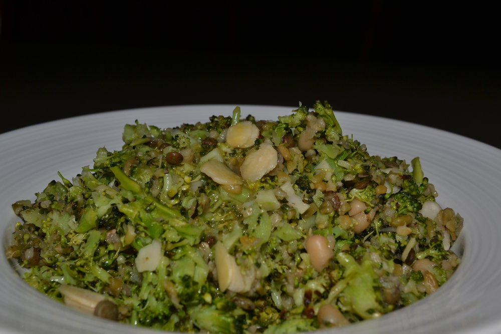 Roasted Broccoli, Freekah, Lentil and Bean Salad with Honey Mustard Dressing at HideAway Haven Luxury Accommodation Albany