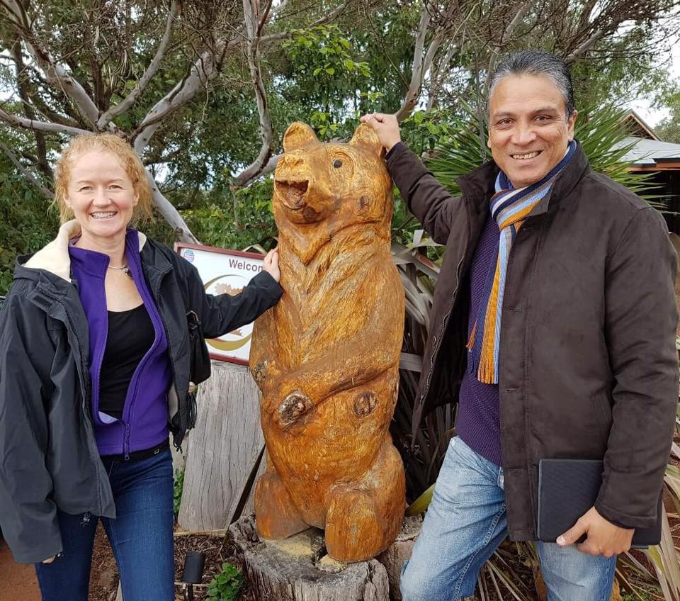 Michael and Nicola with Heidi Bear HideAway Haven
