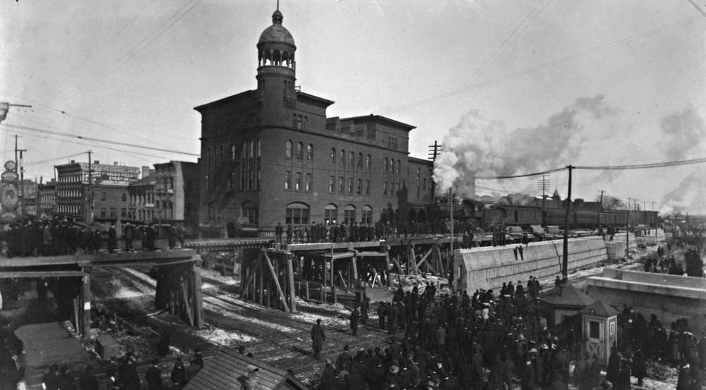 New York Central track elevation under construction at State Street intersection, c. 1905. Image source, SCHS