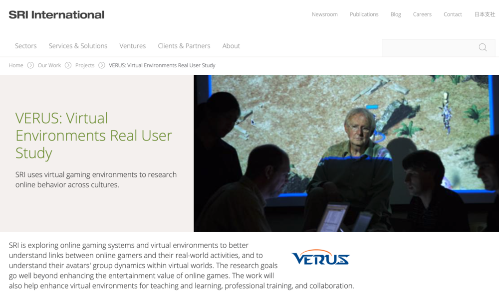 Stanford Research Institute: VERUS Initiative. Exploring Behavioral Patterns in MMOGs and Virtual Worlds