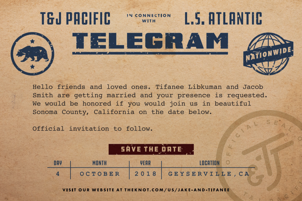 "Our ""save the date"" was a vintage telegram. We used the monogram we created to act as an ""official"" seal as well."