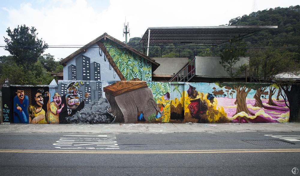 Mural Horto Resiste, por Coletivo Novecinco e Sónacorreria Crew (clique para aumentar).