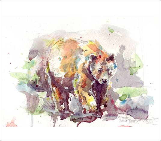 """Spirit Bear"" 11x14 watercolour on paper.  In addition to dogs and Cats I also paint wild animals in watercolour and oil."