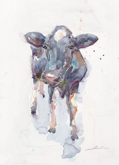 """German Calf from Koln"" 11x14 watercolour on paper  Archie took a strange liking to this cow on a property outside of Koln Germany, the two of them stood around and grazed in the field together."