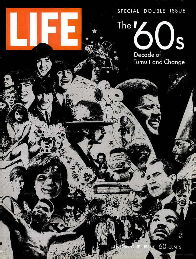 "LIFE magazine, December 26th, 1969      The '60s: Decade of Tumult and Change   ""It is tempting for historians — and perhaps even more so for journalists — to paste a specific label on a decade. LIFE has labeled this special issue 'The Decade of Tumult and Change.' It was certainly that.  And yet the significant moments of a decade rarely begin with the opening year and then stop neatly on calendar cue ten years later; men and events are not so tidy with time. The last decade in America that perhaps deserved a single, embracing label, was the '30s: surely it was a decade dominated from beginning almost to end by the Great Depression. The '40s, however, were sharply divided between World War II, over in 1945, and the post-war years, a period for America of worldwide involvement and rebuilding. Nor did the second phase of the '40s end with the decade. It continued into the '50s, which eventually became a period of relative tranquility and peace, of the cold war and the silent generation.  The '60s, a time of tremendous forces and changes, will be analyzed and argued about for years to come. But we suggest that this decade, in terms of American life and the American scene, breaks into two fairly distinct parts. In the first, there was a brisk feeling of hope, a generally optimistic and energetic shift from the calm of the late '50s. Then, in a growing swell of demands for extreme and immediate change, the second part of the decade exploded — over race, youth, violence, life-styles and, above all, over the Vietnam war. These explosive years will carry over into the '70s, and it is impossible to predict when they will end.  The great trends and themes of this turbulent era were, indeed, already in motion during the early years of the '60s, but they became dominant only in the second half of the decade. If a single event can be picked to mark the dividing line, it is not the assassination of President Kennedy in 1963, an isolated national tragedy brought about by the act of a single megalomaniac, but the Watts riots in Los Angeles in August 1965. It was Watts, sudden and violent, that finally ripped the fabric of lawful democratic society and set the tone of confrontation and open revolt so typical of our present condition.  The tumbling years began with a new President inviting his countrymen of all ages to accept a share of the burdens of leadership. This invitation, with its eloquent appeal to idealism, reached the young of America, and they responded not only by joining the Peace Corps but by beginning to study the possibility that they had an urgent stake in the quality of American life. This involvement would lead, eventually, to enormous outbursts of protest against a profusion of targets.  In these early years [of the decade], despite Russian dominance in space, the Bay of Pigs, the small but growing conflict in Vietnam, the backlash against civil rights action and the rising black unrest in the cities, there was a certain optimism that good ends could be accomplished in an orderly and even joyful fashion. The country was eager for heroes and signs of national achievement, and John Glenn provided both when, in the winter of 1962, he orbited the earth three times. And then the President was shot. The long weekend of mourning brought us closer together as a people than we have been at any time since. The sense of disillusionment and of important things begun but never completed ran parallel with grief. Lyndon B. Johnson's first years in the White House, though marked by proclamations of the Great Society and outstanding congressional action, particularly in the field of civil rights, were accompanied by deepening involvement in Vietnam. By the end of 1965, Vietnam had become a real war — and a national trial. At the same time, American viewers watched in nightly disbelief television film of rising disorders in their own land, in their own streets and in their own campuses. The explosive years have arrived."""