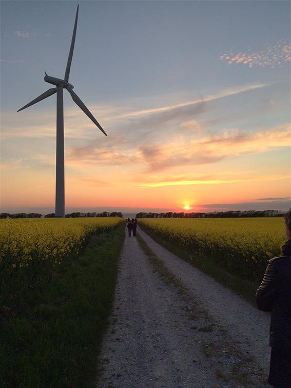Den smukke solnedgang ved Mellem-rummet på Samsø
