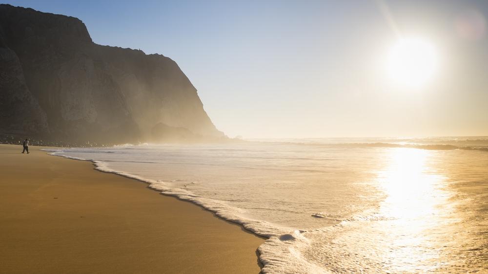Praia Grande, stranden der ligger 7 min. gang fra vores hus