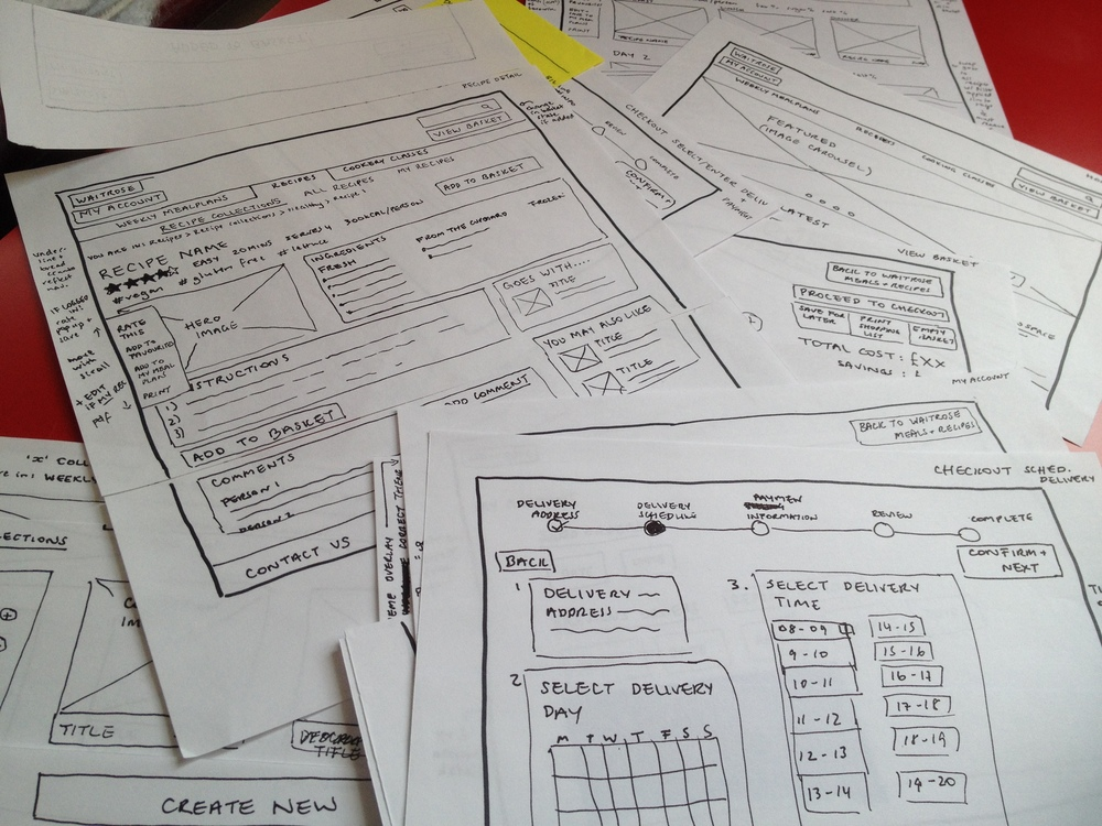 Low fidelity wireframe sketches