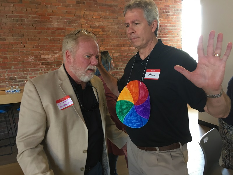 Open Broadband's  Kent Winrich and Alan Fitzpatrick demonstrate buffering at the Gigabit 101 Workshop.