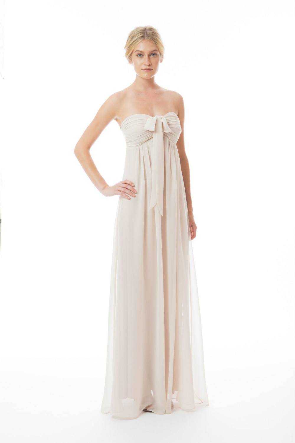 ivory strapless bridesmaid dress