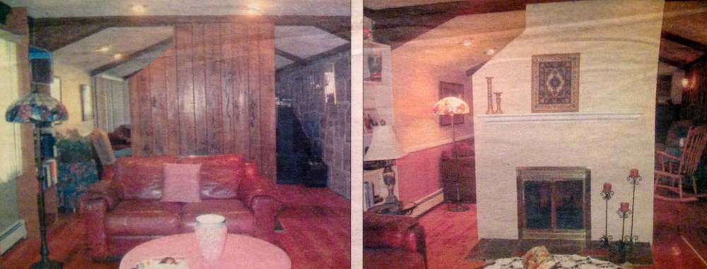 "Before she redesigned this living room in an expanded ranch in Oceanside NY, home-stager Evelyn Truhn said its modern furniture clashed with its ""Swiss tavern""-like paneled walls and ceiling beams (left). After Truhn painted the fireplace, rearranged the crimson leather couch, and added decorative accessories to make the room more uniformly modern, the home sold a few weeks later. (Credit: Evelyn Truhn)."