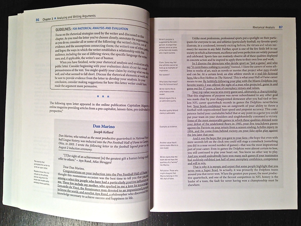 "My letter to Dan Marino, published in the Pearson Education textbook ""Choices Writers Make.""  (Photo: Joseph Kellard)"