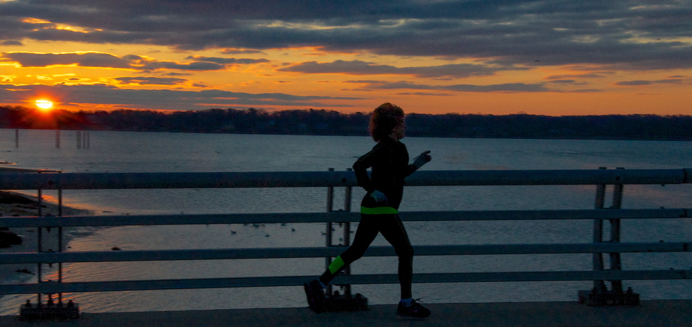 Jeri Cavagnaro often treks across the Bayville Bridge when she runs solo a few days each week. (Photo: Joseph Kellard)