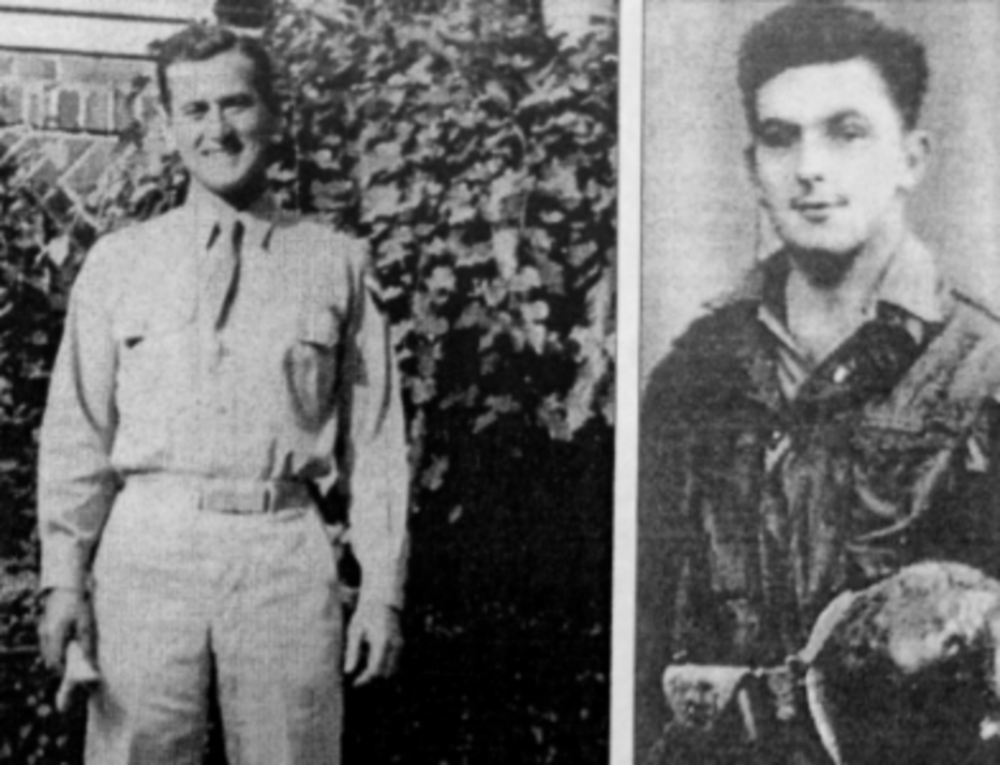 Nat Glanz, left, was captured by Nazi troops after a German machine-gunner shot him in the thigh in Colmar, France. Edward Hynes, right, spent three weeks imprisoned by Nazis after shrapnel from a German hand grenade tore into his lower back. (Courtesy: Glanz and Hynes)