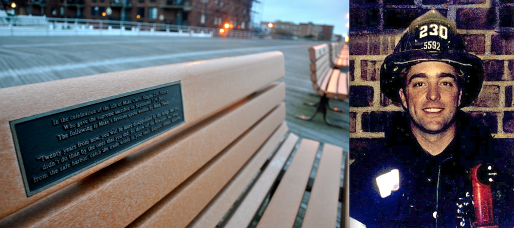 A memorial bench dedicated to Michael Carlo, a FDNY firefighter who was killed on September 11, on the boardwalk. (Photos: Joseph Kellard & Carlo Family)