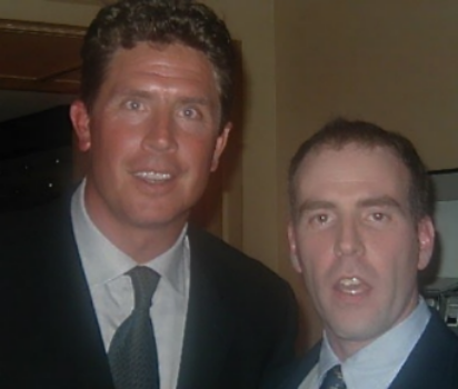 Hall of Fame quarterback Dan Marino, left, and me in 2000. (Credit: Joseph Kellard)