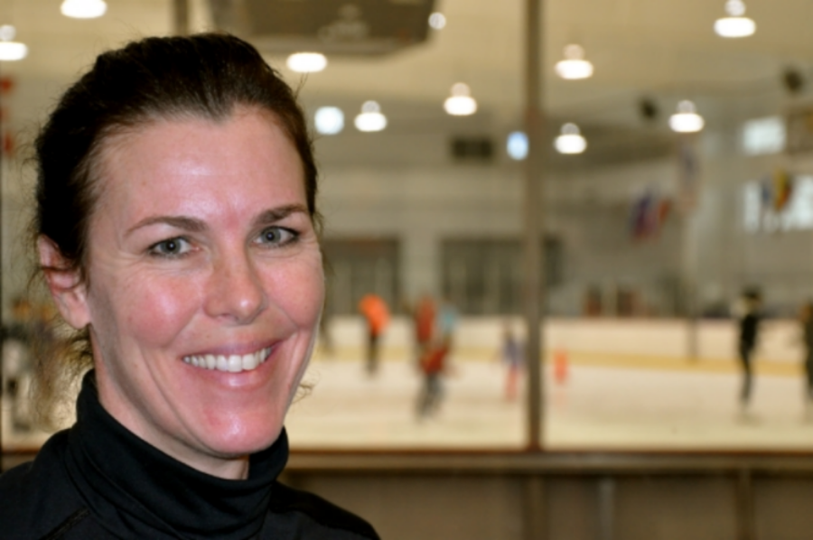 Munzel at the ice arena in Bethpage, NY, where she trains young skaters and hockey players. (Photo: Joseph Kellard)