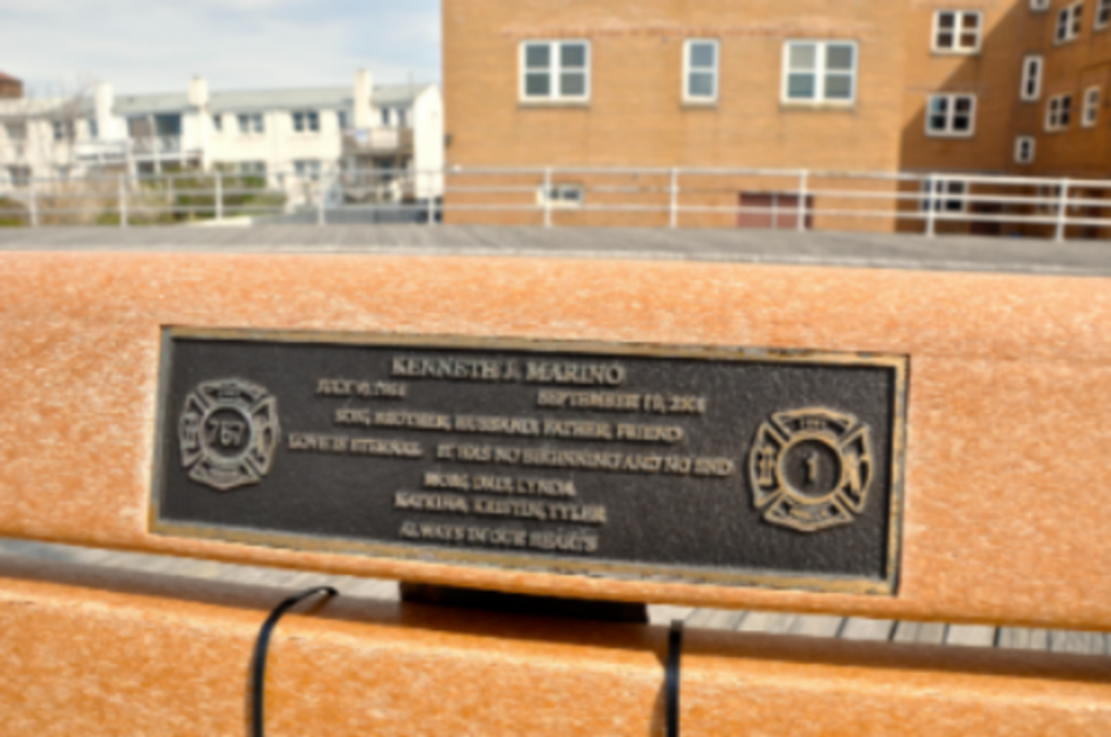 Marino's family placed a plaque and bench in his memory on the    boardwalk in Long Beach NY. (Photo: Joseph Kellard)