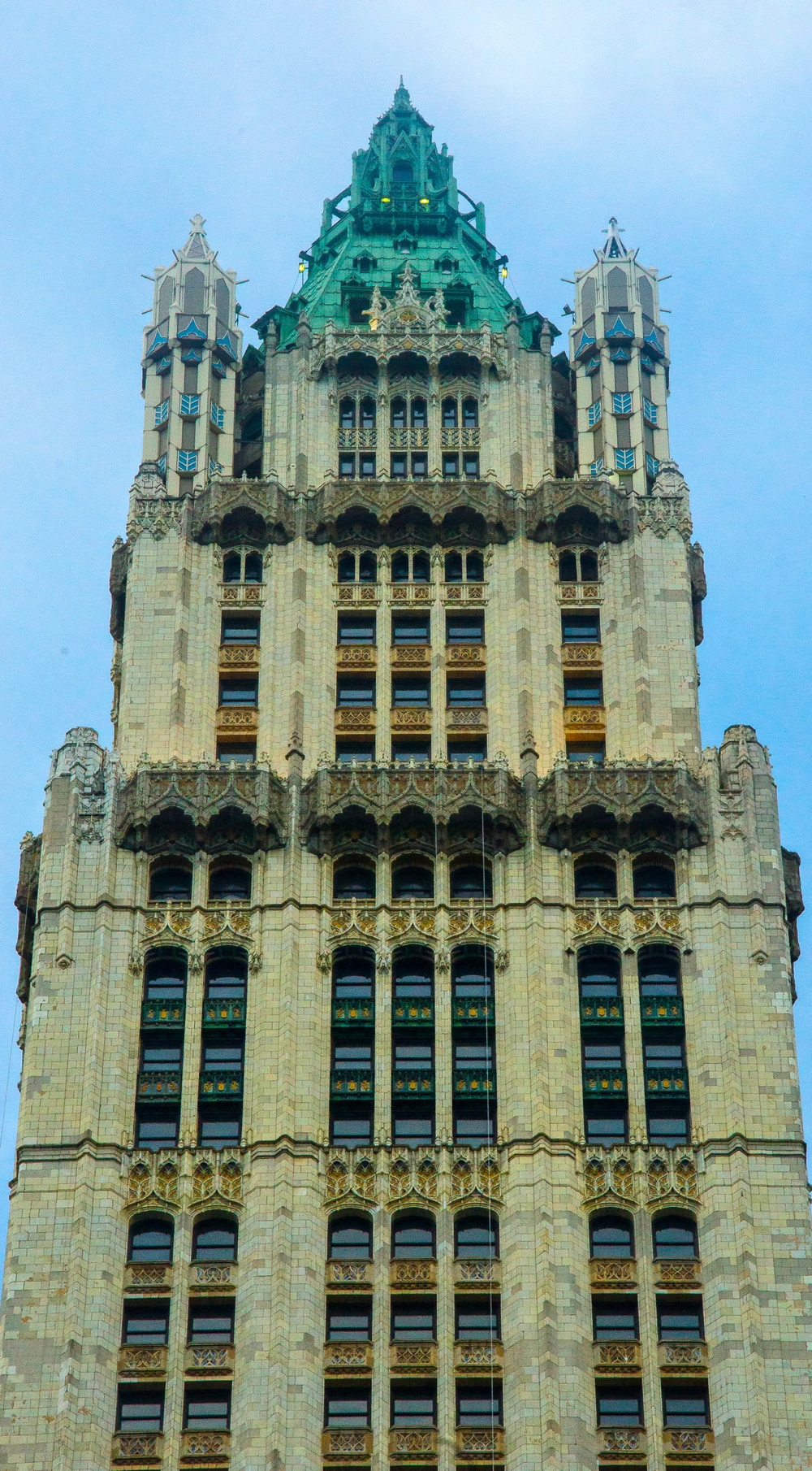 A close up of the Gothic-like pinnacle of the building, taken from City Hall Park. (Photo: Joseph Kellard)