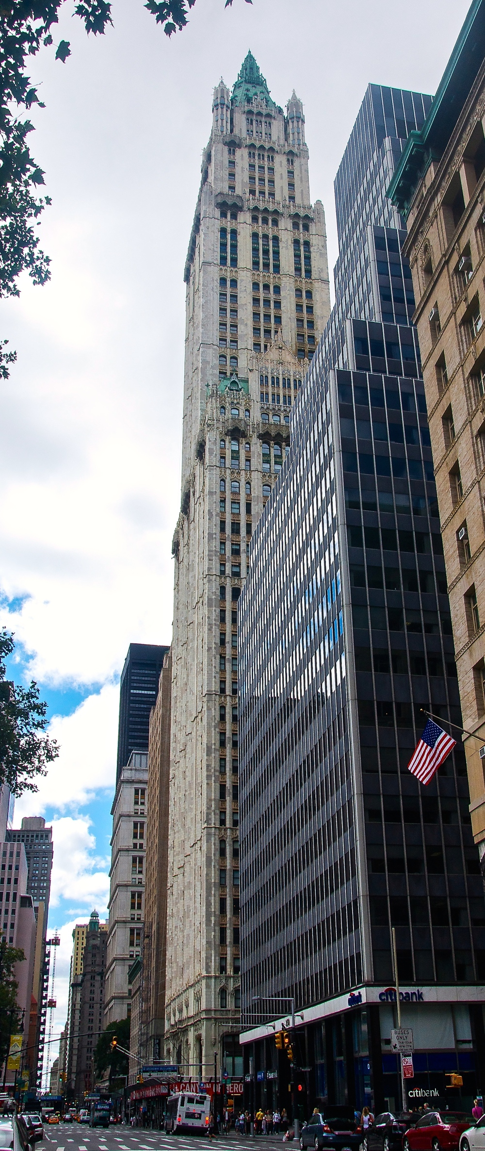 The Woolworth Building standing among its neighbors on Broadway, looking south. (Photo: Joseph Kellard)
